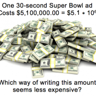 Super Bowl ads and scientific notation