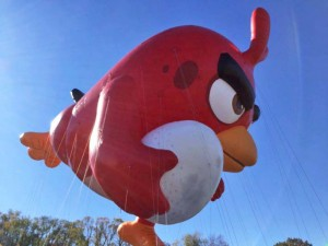 This year will be the first time that an Angry Bird character will be in the parade. This is Red.