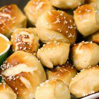 Super Bowl cheesy pretzel poppers